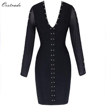 Ocstrade Black V Neck Long Sleeve Mesh Metal Studded High Quality Bandage Dress SW053-Black