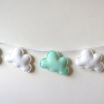 Cloud Garland, White and Mint Clouds, Cloud Banner, Cloud Bunting, nursery decor, photo prop, baby shower gift, new baby, baby boy