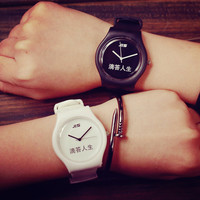 2016 Fashion Black White Jelly Chinese High Quality Soft Safe Silicone Rubber Strap Quartz Watch Wristwatch for Women Men