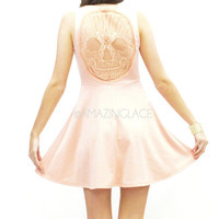 Happy Face Lace Back Skull Skater Dress Coral Blush