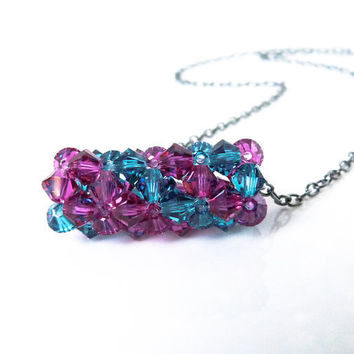 Beaded Swarovski Crystal Bicone Necklace - Beadwork in Blue and Fuchsia