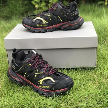 2019 Balenciaga Triple S Trainers Black/Wine Red/Yellow Sneakers 35-45