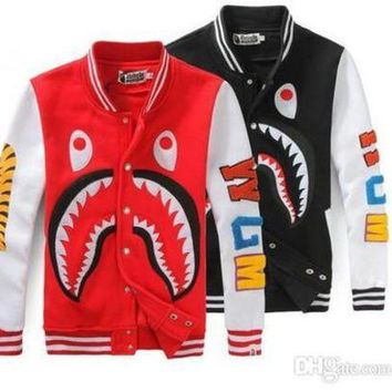 High Quality Loves Casual Sweater Printing Sharks Baseball Jacket Uniform Fashion Cartoon Sweatshirt Coats Free Shipping