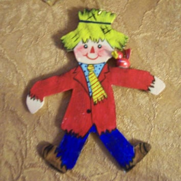 Scarecrow handpainted wooden Christmas ornament--FREE PERSONALIZATION
