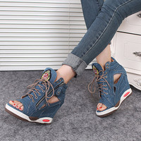 Fashion Women Spring Summer Open Toe Shoes Pumps High Heel Wedge Sandals Platform Jeans Shoes Popular