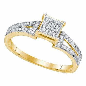 10kt Yellow Gold Women's Elevated Diamond Square Cluster Bridal Wedding Engagement Ring 1-6 Cttw - FREE Shipping (USA/CAN)