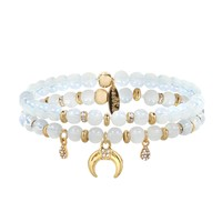Double Take Elastic Bracelet Set in Opal and Gold
