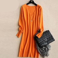 Luxuriously Soft Cashmere Pullover Sweater Dresses Fall into Winter Chic