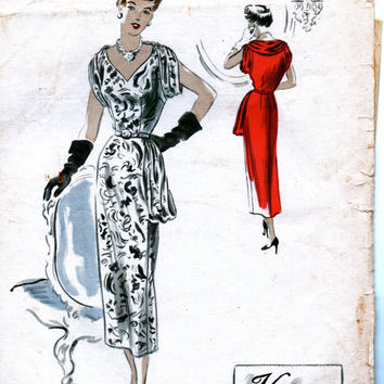 Sale:) Vintage 1940s Sewing Pattern 497 Vogue Couturier Design - BEAUTIFUL Cocktail Dinner Dress Draped in Front - Bust 36
