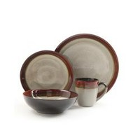 Gibson Couture Bands 16pc Dinnerware Set- Cream with Red Rim