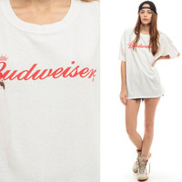 BUDWEISER Shirt 90s BEER Tshirt DISTRESSED Alcohol Oversized T Shirt Ripped 1990s Hipster Vintage Long Tee White Bud American Medium Large