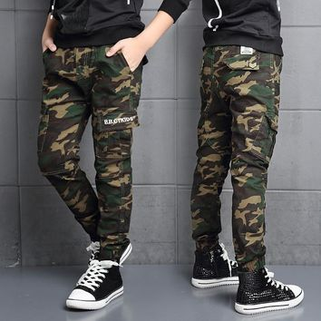 Big Boys Pants Fashion Brand Children Cargo Pants Casual Cotton High Quality Kids Clothes 7-18Y Boy Camouflage Trousers Menino