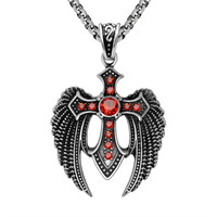 Vintage gothic eagle pendant necklace male inlaying ruby men fine jewelry With the chain SP449