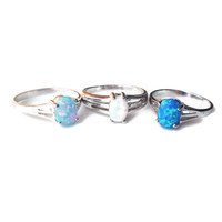 Sterling Silver Oval Opal Rings - 3 Shades Available