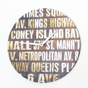 SALE Street Sign Clock, Unique Wall Clocks, Home Decor, New York City Street Clock, Decor and Housewares, Home and Living,  Typography