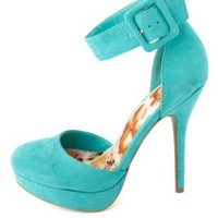 Round Toe Ankle Strap D'Orsay Platform Heels - Turquoise