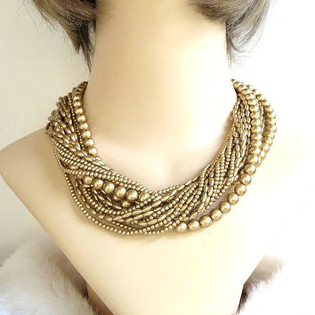 Gold Faux Pearl 18 Strand Necklace Vintage Rounds and Rice Shapes Signed Carolee