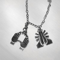 Kalin and Myles - Bless Prayer Hands Necklace [KAMJ4022]: Now Just $15.00