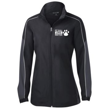 Pit Bull Lives Matter - LST61 Sport-Tek Ladies' Piped Colorblock Windbreaker by Little Pit Shop