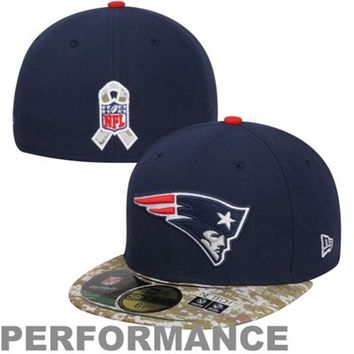 New Era New England Patriots Salute To Service On-Field 59FIFTY Fitted Performance Hat - Navy Blue/Digital Camo