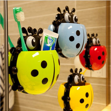 Cartoon multicolour Coccinella septempunctata toothbrush holder combination set suction cup storage Bathroom Toothbrush Holder
