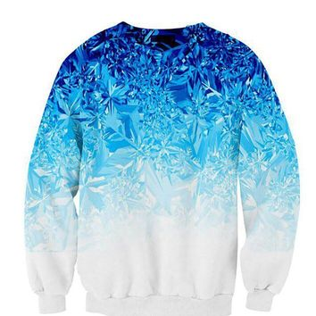 Cloudstyle New Fashion 3D print mens sweatshirts hoodies casual pullover Round collar hombre sweatshirt men S-5xl Blue leaves