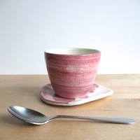 Lavender Pink Coffee cup and saucer set Mothers day gift Wheel thrown pottery  Pottery ceramic cup and plate - ready to ship