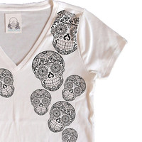 Womens Rockabilly Shirt Sugar Skull Top V-Neck Cotton Black and White Mendhi Trippy Punk Teen Girl Trendy Gift