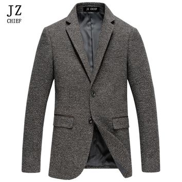 JZ CHIEF Men Blazer Men Gray Wool Blazer Slim Fit