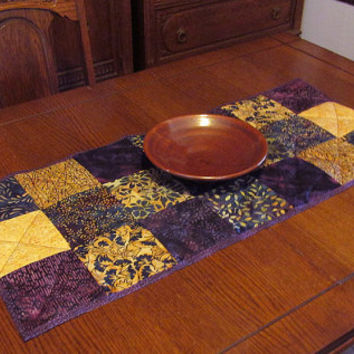 Handmade Quilted Table Runner, Purple Blue Cream Checkerboard, Table Topper