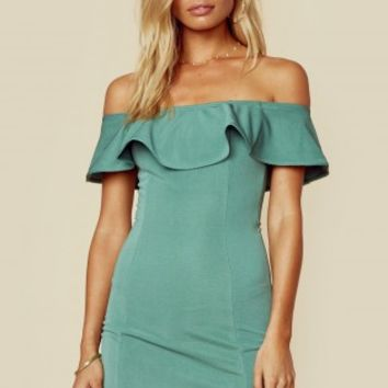 EVA OFF SHOULDER MINI DRESS
