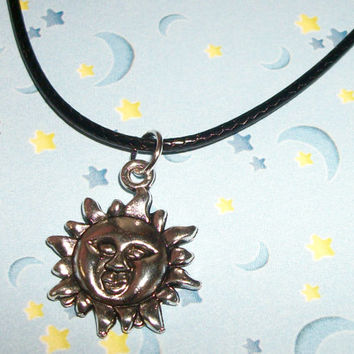 Goth Sun Charm Necklace // 90's Pastel Goth, Soft Grunge, Kawaii // Cute Sun Black Leather Cord Necklace