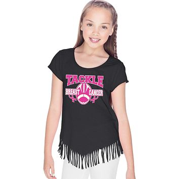 Girls Breast Cancer T-shirt Tackle Cancer Fringe Tee