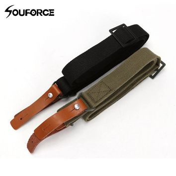 2 Color Multi functional Tactical Canvas leather Rifle AK Gun Sling Lanyard Strap Rope Outdoor