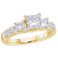 Diamond Bridal Ring with 0.40ctw Center Princess Stone in 14k Gold 1.15 ctw