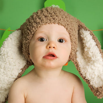45dc241b6fb 12 to 24m Baby Bunny Hat Baby Beanie Animal Hat - Crochet Baby B