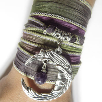 Bohemian Crescent Moon Silk Wrap Bracelet Yoga Jewelry Amethyst Spiritual Bracelet Moon Jewelry Arm Band Unique Christmas Stocking Stuffer
