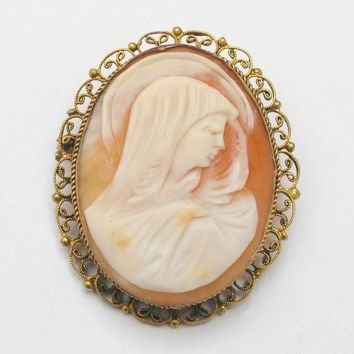 Shell Carved Cameo pendant Brooch - Gold plated  setting - vintage women profile  Virgin  Mary with Baby Halo - pin