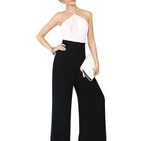 Black and White Halter Backless Jumpsuit