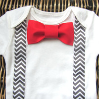 Baby Boy Clothes - Bow Tie Onesuit - Red Bow Tie and Suspenders Onesuit - Grey Chevron - Boys First Birthday Outfit - Valentines Day Outfit