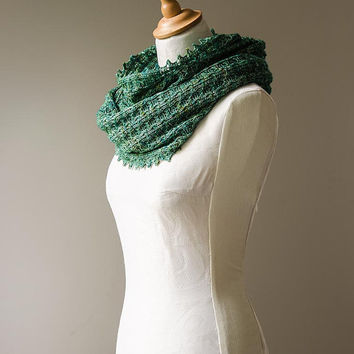 Silk knitted cowl, silk möbius scarf, wool cowl, snood, knitted wrap, green colour hand dyed yarn 'Tuck'