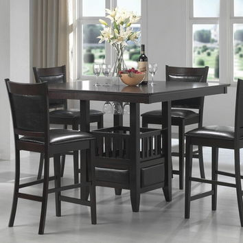 Coaster 100958 5 pc jaden collection espresso finish wood square counter height pedestal dining table set