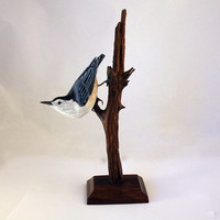 White Breasted Nuthatch Bird Wood Carving Hand Carved Sculpture by Mike Berlin