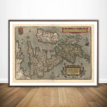 Map of England Wales Scotland UK Reproduction Vintage Antique Wall Art Paint Decor Prints Canvas Poster Oil Paintings No Frame