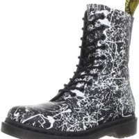 Dr. Martens Women's 1490 W 10 Eye Boot,Black/White Paint Splatter,6 UK/8 M US