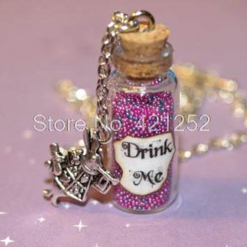 12pcs Alice in Wonderland Drink Me Bottle Necklace in Psychedelic  with a Rabbit Charm necklace
