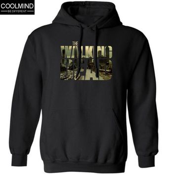 cotton blend the walking dead men Hoodies with hat fleece casual loose TWD mens hoodies and sweatshirts 2016 H01
