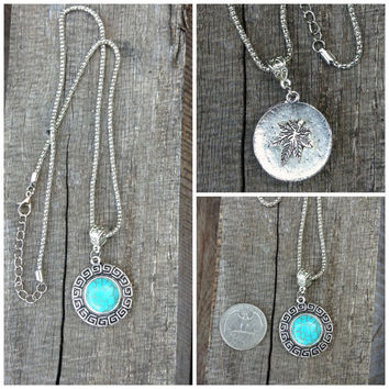 Turquoise Karma Necklace Reversible Hippie Style Necklace with Tibetan Silver Pendant and Peace Pipe Offering on Flip Side