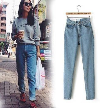 Free Shipping 2017 New Slim Pencil Pants Vintage High Waist Jeans New Women Pants Slim jeans for women skinny high waist jeans