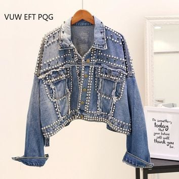 2018 New Autumn Jeans Jacket Women's Handwork Rivet Studded Denim Jacket Loose Outwear Female Students Casual Short Denim Coats